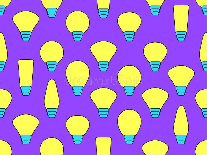 Cor amarela e violeta do teste padrão sem emenda das ampolas Vetor ilustração royalty free