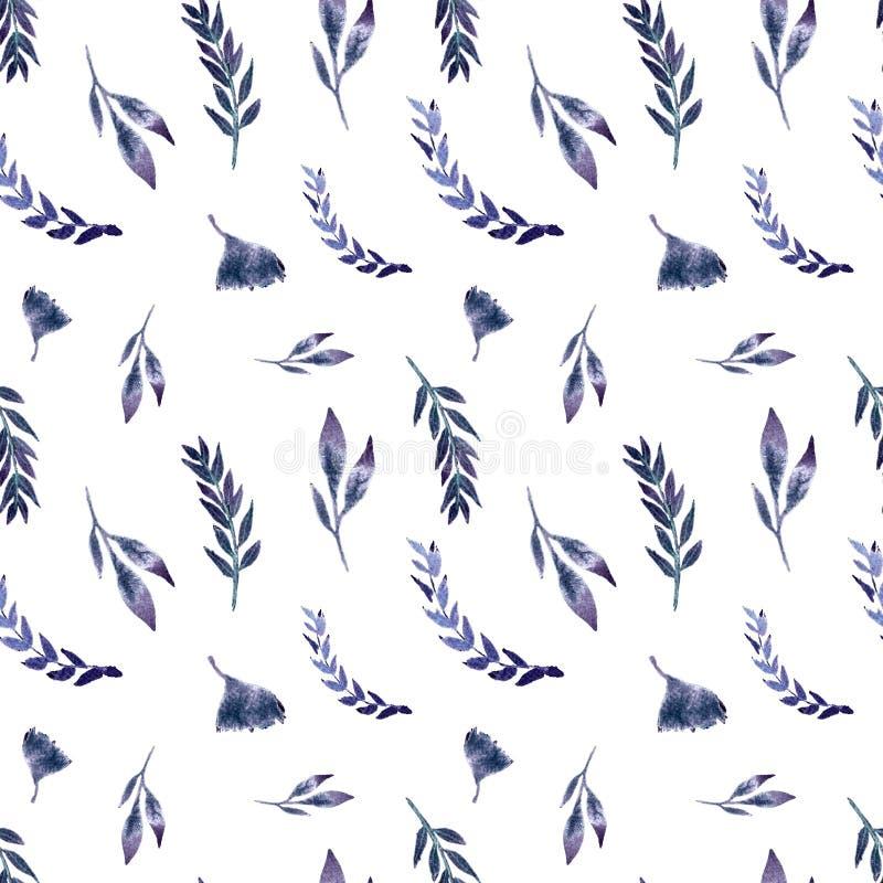 Cor aquosa de padrão constante com folhas, ervas, ginko ilustração do vetor