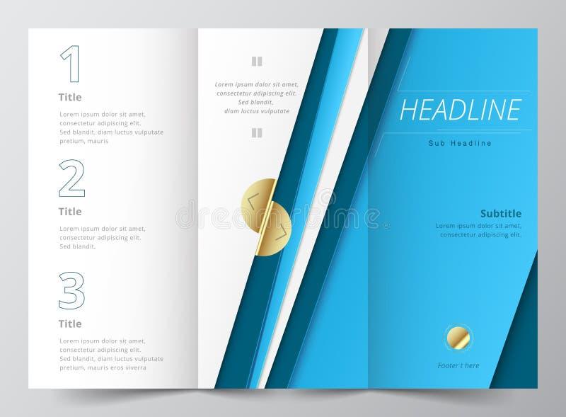 Cor azul abstrata dobrável em três partes do vetor do molde do projeto do folheto ilustração royalty free