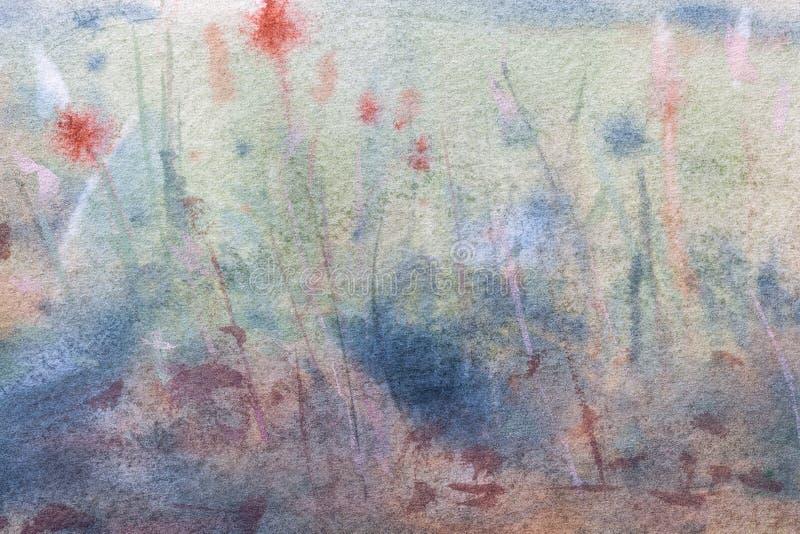 Cor azul clara de fundo da arte abstrata e verde escuro Pintura aquosa em tela foto de stock