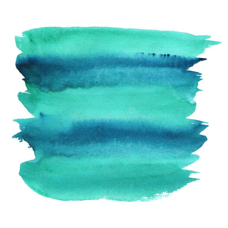 Cor azul esmeralda verde da mancha da aquarela da abstração com inclinação do divórcio ilustração do vetor