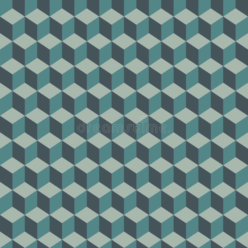 A cor azul repetida cuba o fundo Papel de parede geométrico das formas Projeto de superfície sem emenda do teste padrão com políg ilustração royalty free