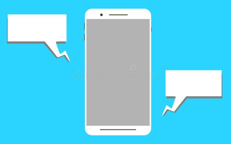 Cor branca da tela móvel do modelo com balão da palavra ilustração royalty free