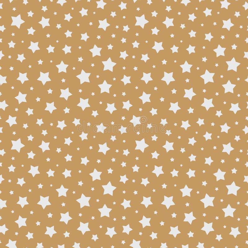 Cor branca do teste padrão sem emenda da estrela do Natal no fundo do ouro para a venda do Natal ilustração do vetor