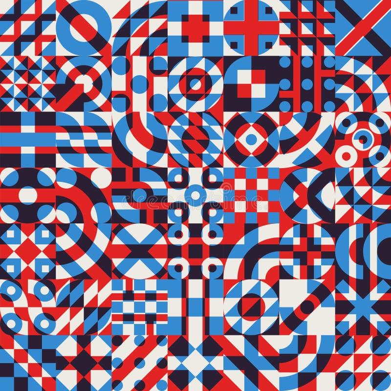 A cor branca sem emenda do vermelho azul do vetor overlay o teste padrão geométrico irregular da edredão dos blocos ilustração stock