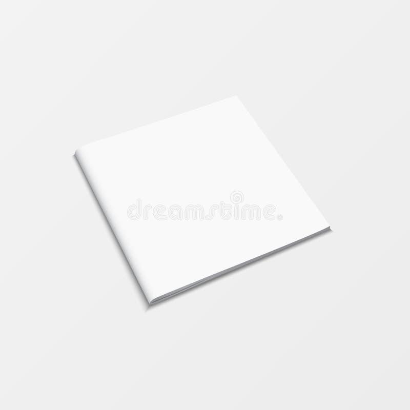 Cor branca vazia da brochura isolada no fundo branco opinião superior do molde do livro do modelo 3d para imprimir o projeto, liv ilustração royalty free