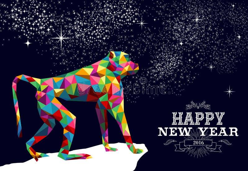 Cor 2016 chinesa feliz do triângulo do macaco do ano novo ilustração stock
