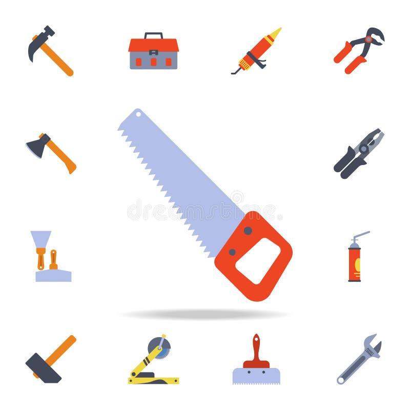 a cor considerou para o ícone de madeira Grupo detalhado de ferramentas da construção da cor Projeto gráfico superior Um dos ícon ilustração do vetor