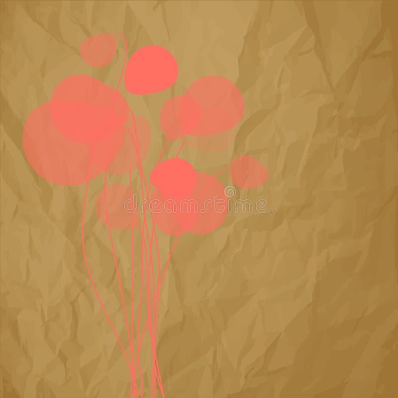 Cor coral dos dentes-de-leão das flores em um fundo marrom de papel amarrotado ilustração royalty free