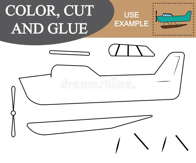 Cor, corte e colagem para criar a imagem do transporte aéreo do hidroavião ilustração royalty free