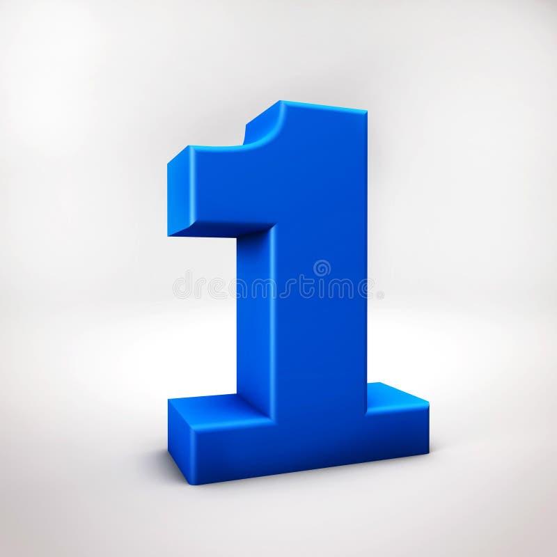 A cor 3D azul do número um rende a ilustração ilustração stock