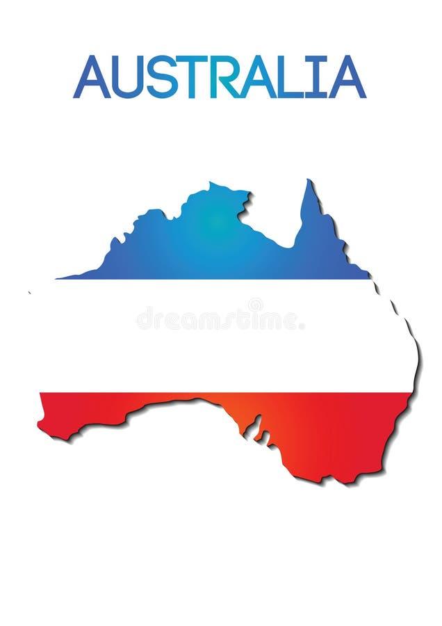 Cor da bandeira nacional de Austrália no projeto do inclinação do mapa ilustração royalty free