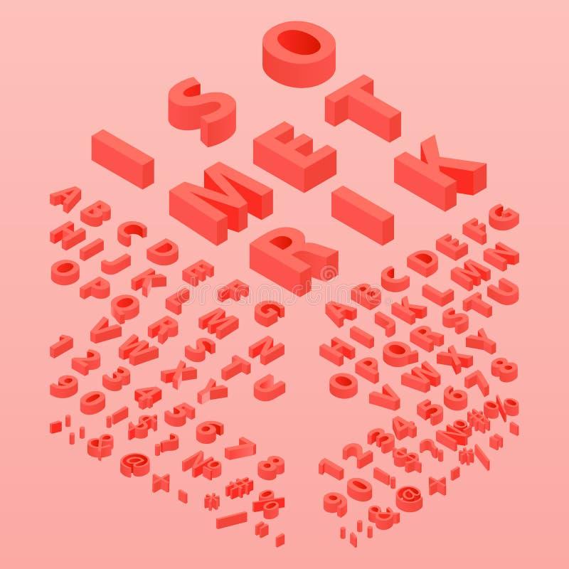 cor da fonte 3d que vive o alfabeto coral, tridimensional ilustração do vetor