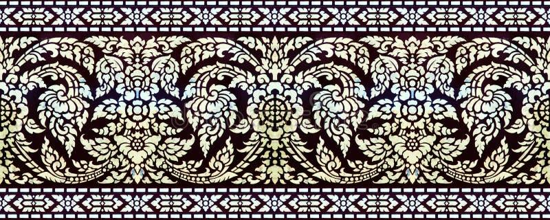Cor da pérola no papel de parede tailandês preto da pintura ilustração stock
