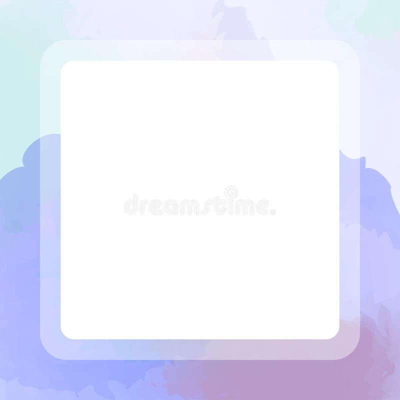 Cor de água colorida do quadro quadrado roxo para a placa da bandeira, quadro azul roxo da bandeira com a mão da textura da aquar ilustração royalty free