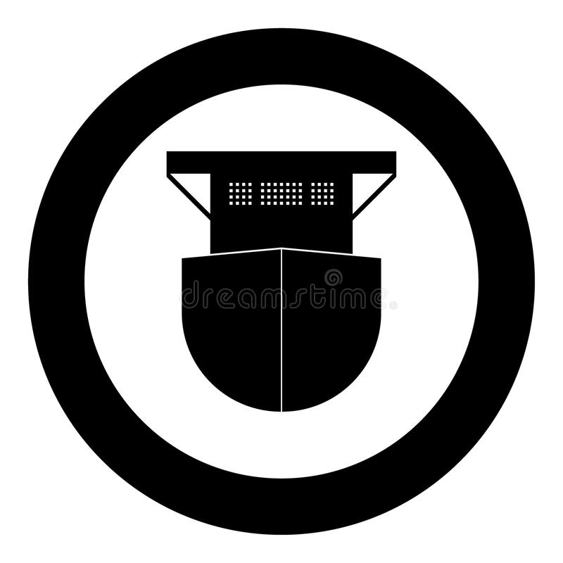 Cor de alto mar do preto do ícone do navio de carga no círculo ilustração royalty free