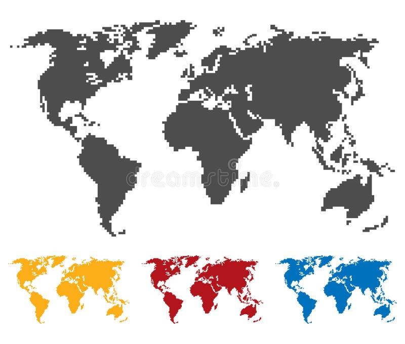 Cor de azul vermelho amarela preta do mapa do mundo Estrutura da sela ou do pixel Ícone do globo Ilustração lisa do vetor ilustração royalty free