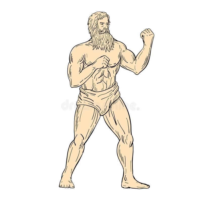 Cor de desenho de Hercules In Boxer Fighting Stance ilustração stock
