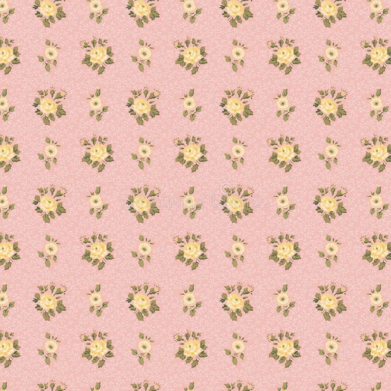 A cor-de-rosa antiga chique gasto e o amarelo do papel de parede levantaram-se fotos de stock
