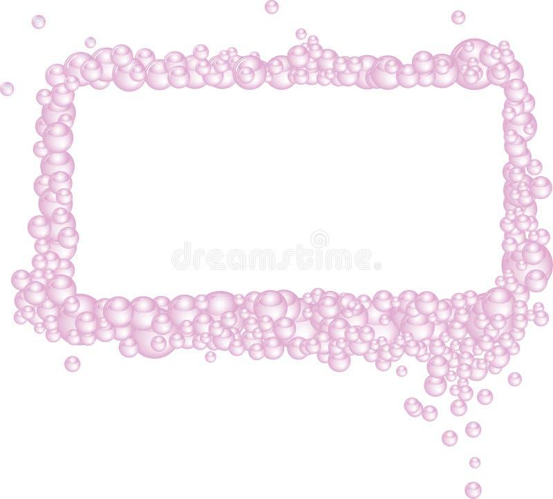 A cor-de-rosa borbulha frame retangular ilustração stock