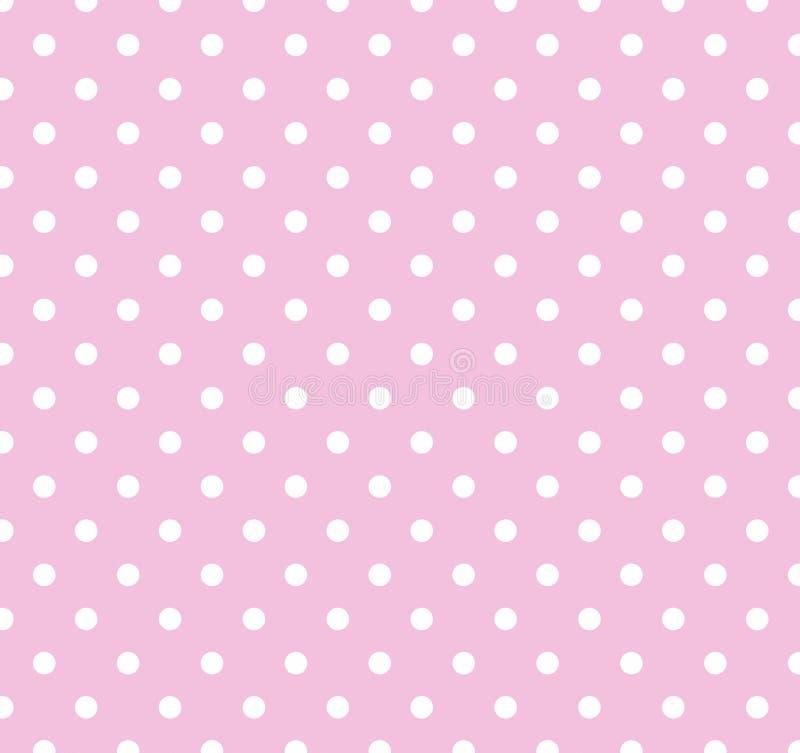 Cor-de-rosa com os pontos de polca brancos ilustração do vetor