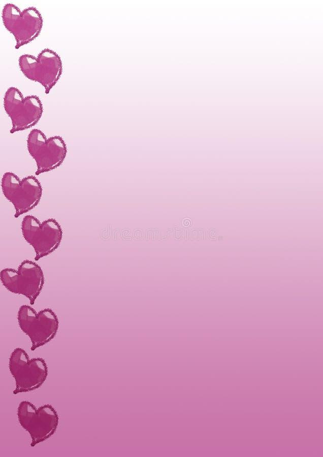 Cor-de-rosa cor-de-rosa do inclinação dos corações imagem de stock