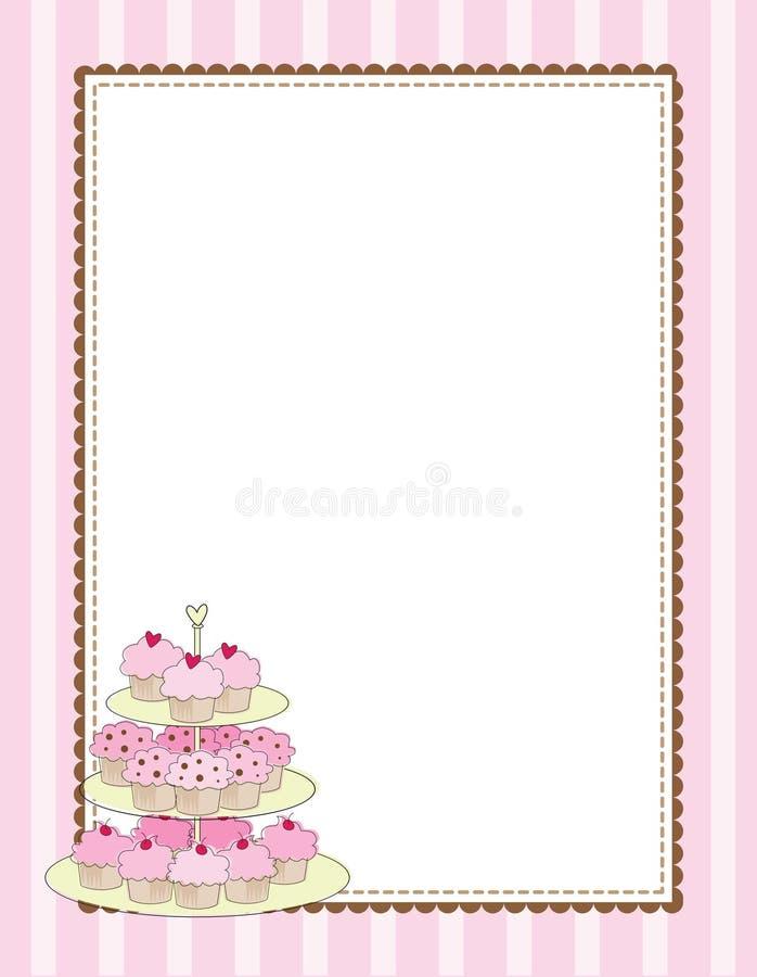 Cor-de-rosa da beira do queque ilustração royalty free