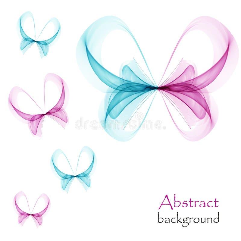 Cor-de-rosa da borboleta abstrata e azul brilhantes em um fundo branco ilustração royalty free