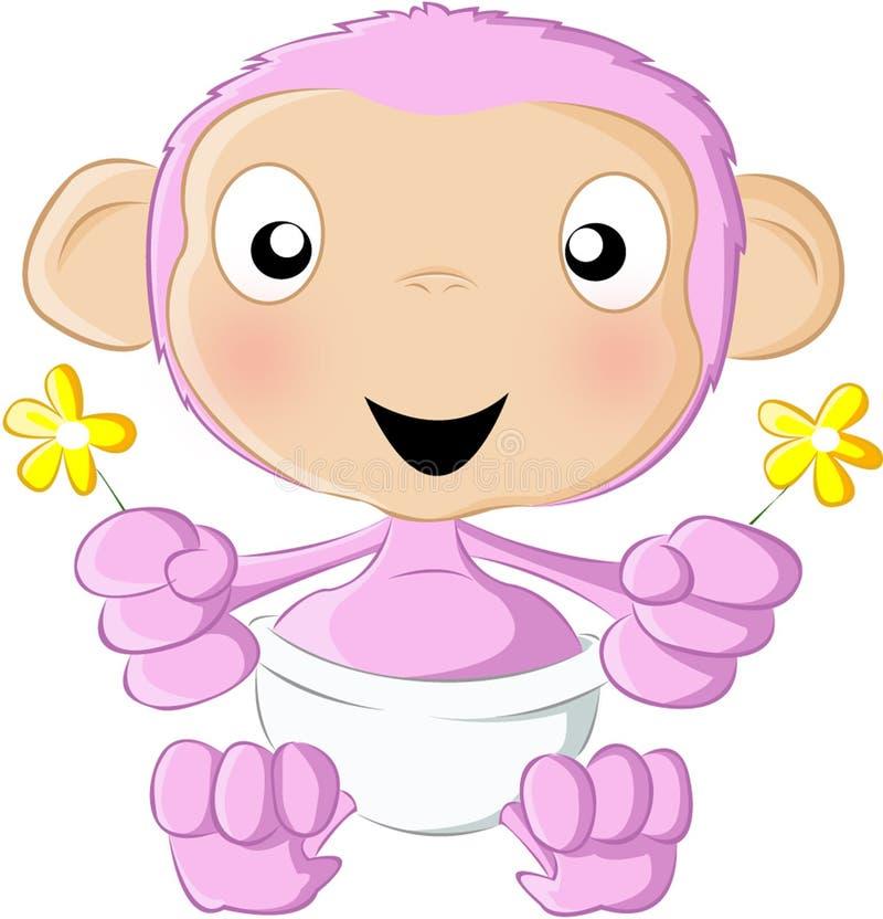 Cor-de-rosa do chimpanzé do bebê ilustração royalty free