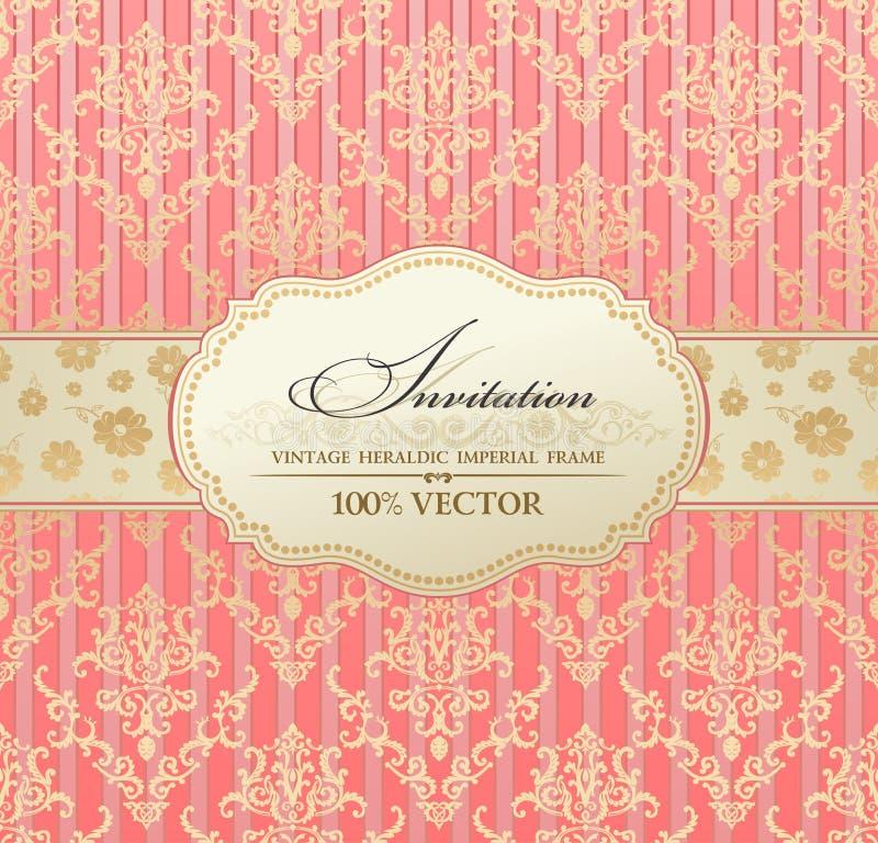 Cor-de-rosa do frame de etiqueta do vintage do convite ilustração royalty free