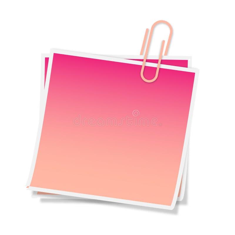 Cor-de-rosa do post-it ilustração stock