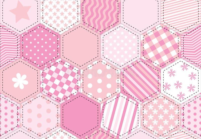Cor-de-rosa do quilt dos retalhos ilustração do vetor