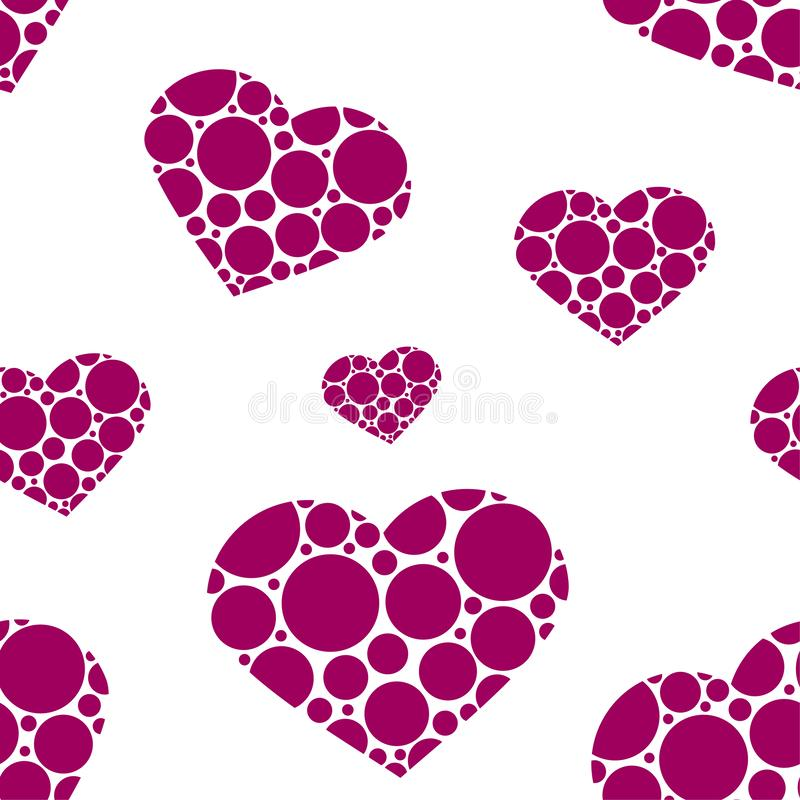 Cor-de-rosa e paixão sem emenda cinzenta Diamantes de corações pequenos com grande coração no meio Cópia de encantamento do amor  ilustração do vetor