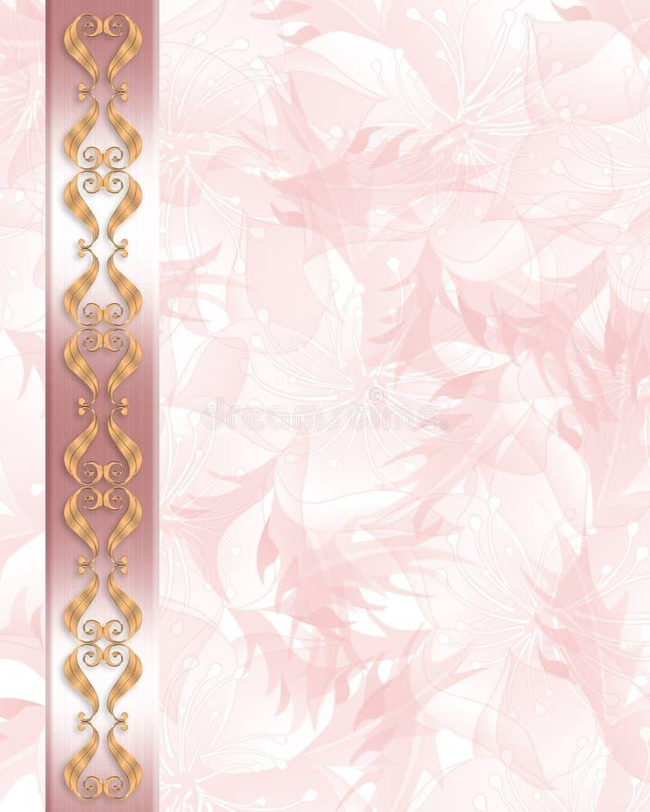 Cor-de-rosa elegante do convite do casamento ilustração do vetor