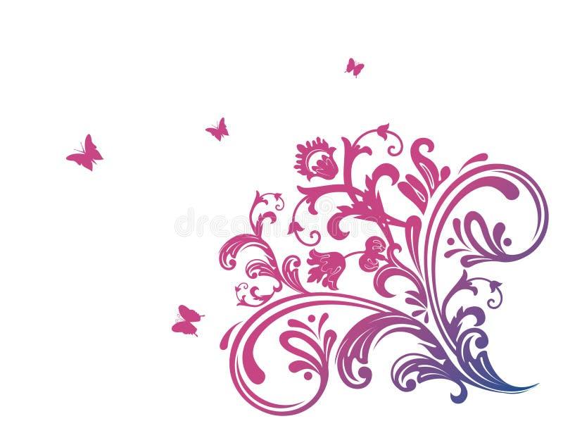 Cor-de-rosa floral com borboleta ilustração stock