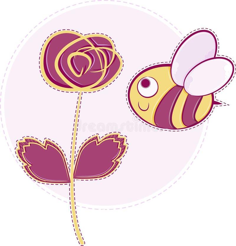 A cor-de-rosa levantou-se com abelha ilustração stock