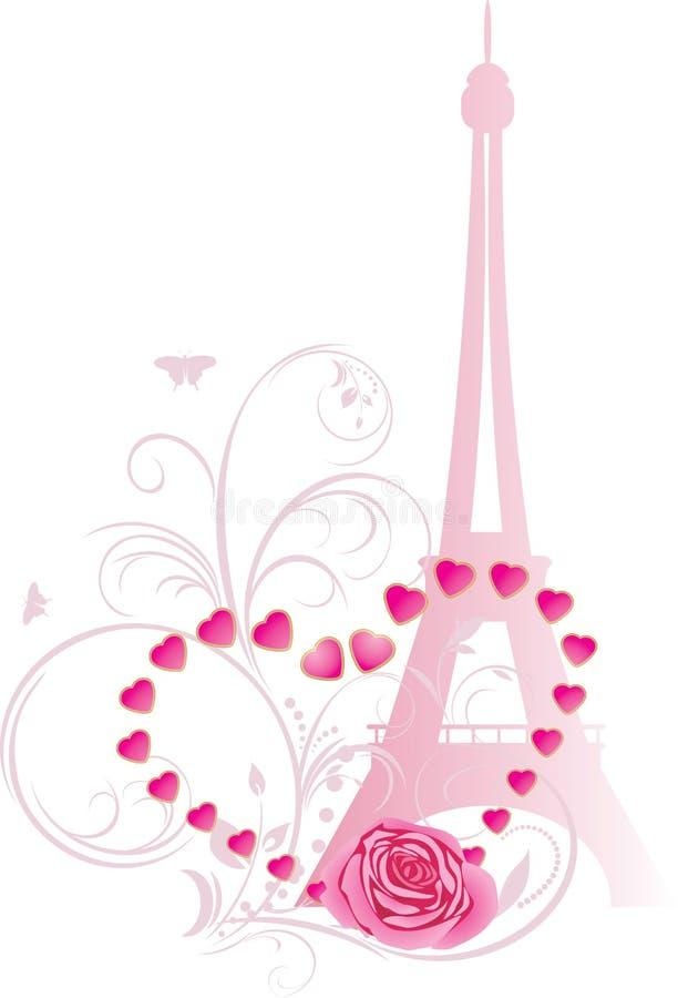 A cor-de-rosa levantou-se com coração e torre Eiffel ilustração royalty free