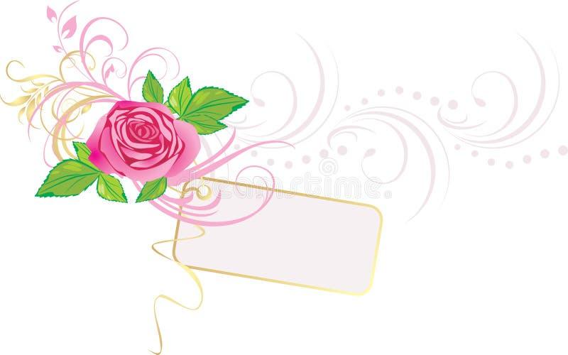 A cor-de-rosa levantou-se com ornamento e cartão ilustração stock