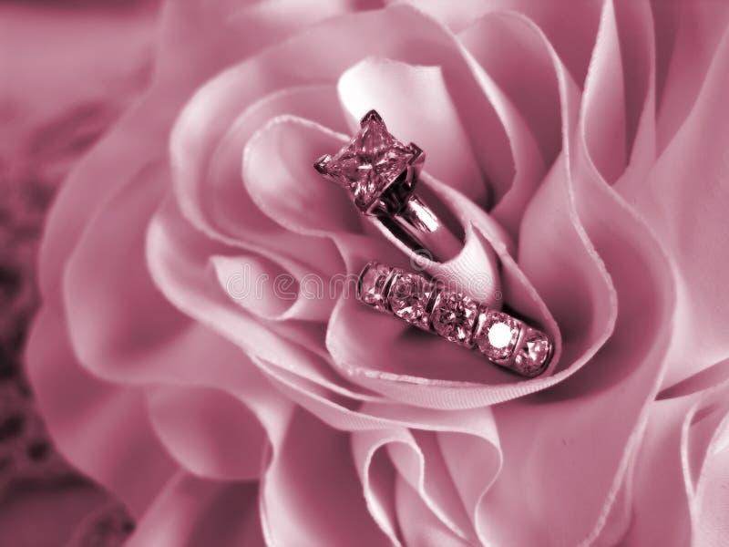 Cor-de-rosa macia do modo dos anéis de casamento foto de stock royalty free