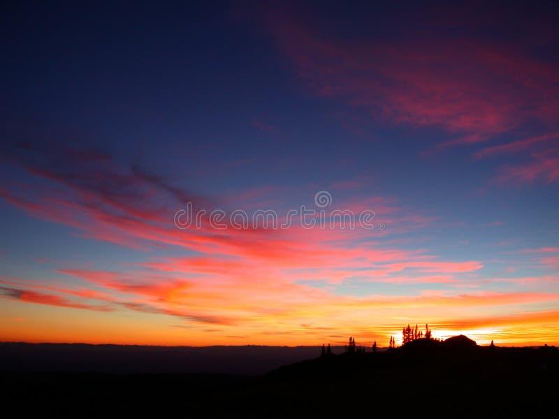 A cor-de-rosa nubla-se o por do sol foto de stock royalty free