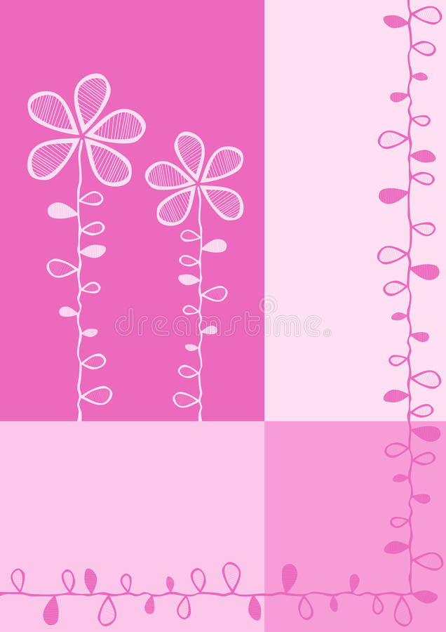 A cor-de-rosa obstrui o cartão do convite do casamento ilustração stock