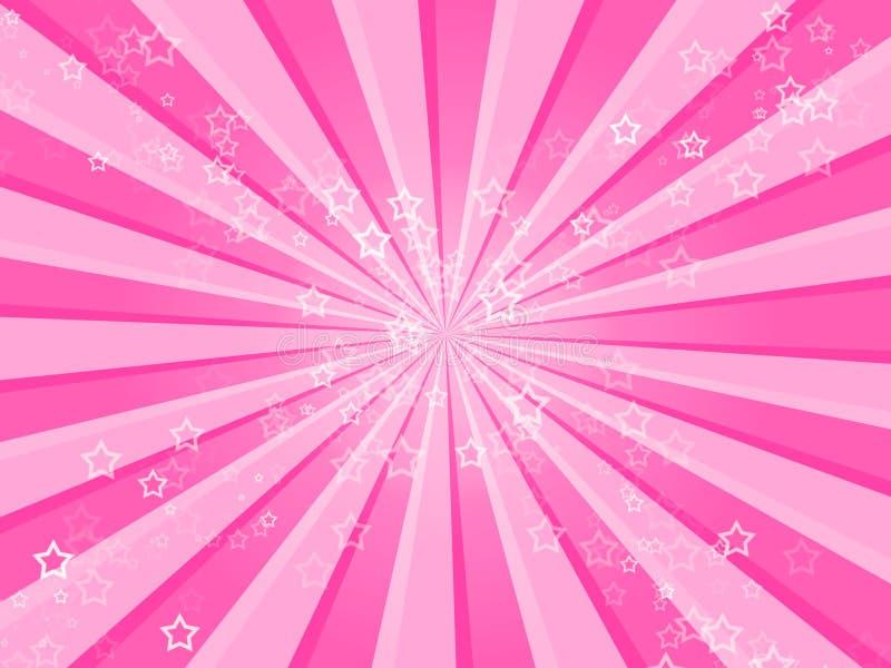 A cor-de-rosa Stars o fundo ilustração do vetor