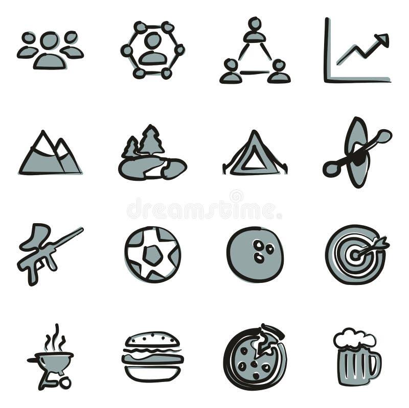 Cor de Team Building Icons Freehand 2 ilustração stock