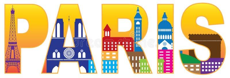 Cor de texto Illustrat da silhueta da skyline da cidade de Paris ilustração stock
