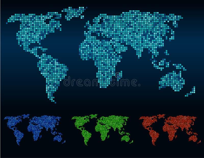 Cor de tom abstrata do vetor 4 do mapa do mundo dos cantos quadrados ilustração stock