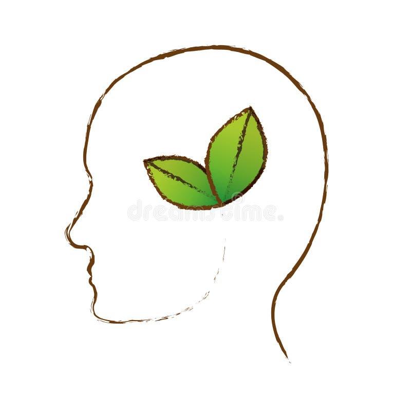 A cor deixa o ícone da tutela do cérebro ilustração do vetor