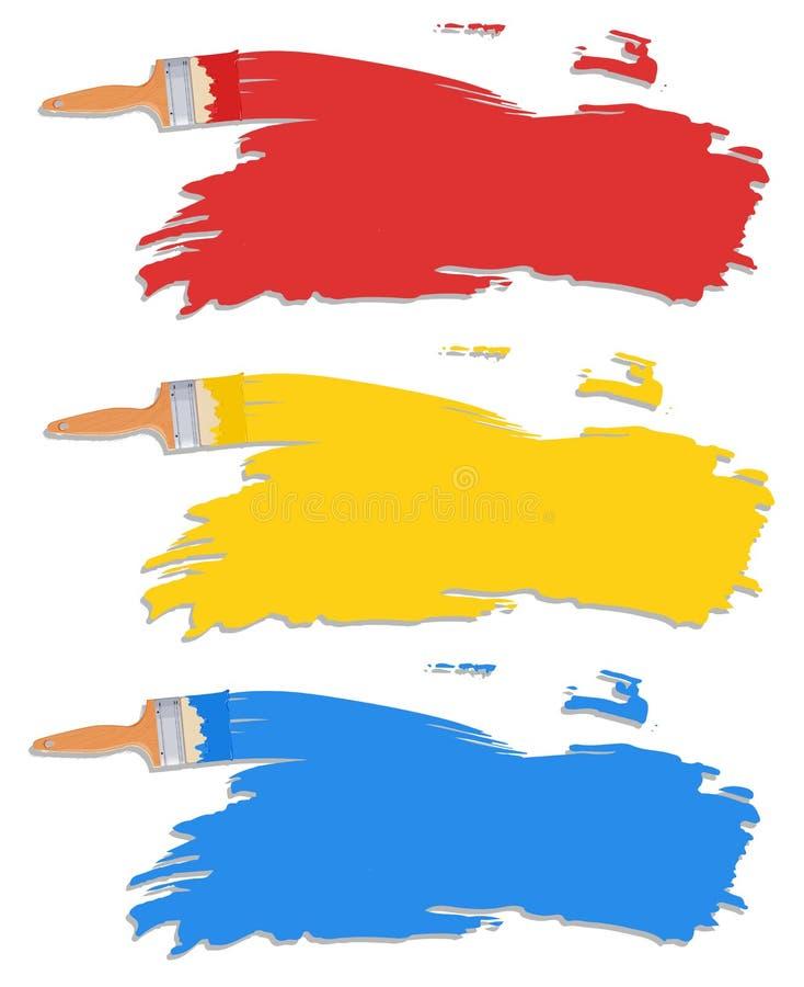 Cor diferente da escova de pintura ilustração stock