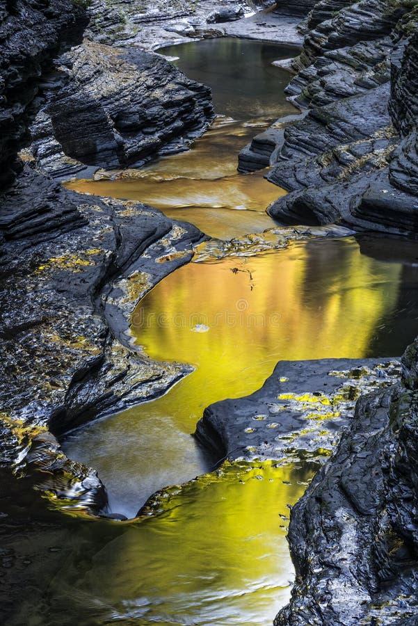 A cor do amanhecer de Watkins Glen State Park fotos de stock