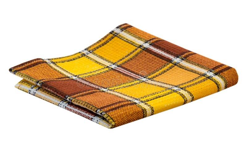 Cor do amarelo da cozinha de pano de tabela isolada imagens de stock