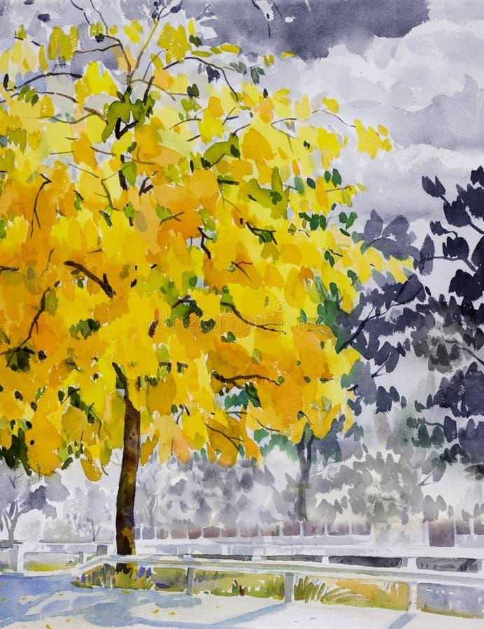Cor do amarelo da paisagem da aquarela da pintura da flor dourada da árvore ilustração stock